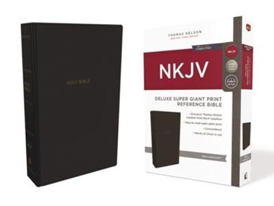 NKJV Comfort Print Deluxe Reference Bible, Super Giant Print, Imitation Leather, Black Image
