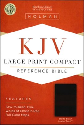 KJV Large Print Compact Reference Bible, Saddle Brown LeatherTouch Image
